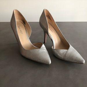 Nine West. Silver. 3 inch heel.